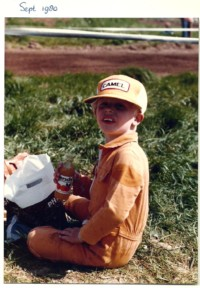Dirk spending a day at the dirt bike track in his overall and designated cap.
